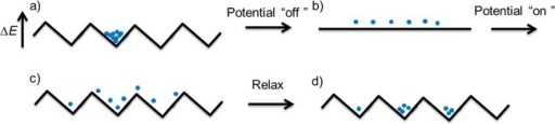 An on–off ratchet:(a) the particles are located in an energyminima, (b) the potential is turned off so that diffusion can occurfor a short time, and (c) the potential is turned on again. As thepotential is asymmetric, particles have a greater probability of beingtrapped in an adjacent well to the right of the original one thanto the left. (d) Relaxation into the local energy minima leads tothe average position of the particles moving to the right.128