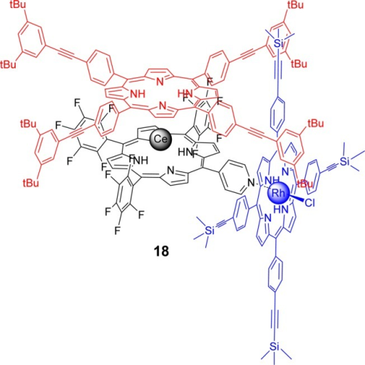 Cerium(IV) bis(porphyrinate) double decker (top unit)and a rhodium(III)porphyrin-based side cog. The two units are connected through a coordinationbond between rhodium(III) and a pyridyl group.249