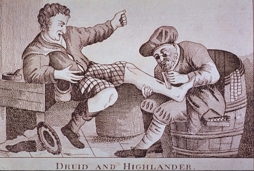<p>The druid applies a bandage to the Highlander's shin.</p>