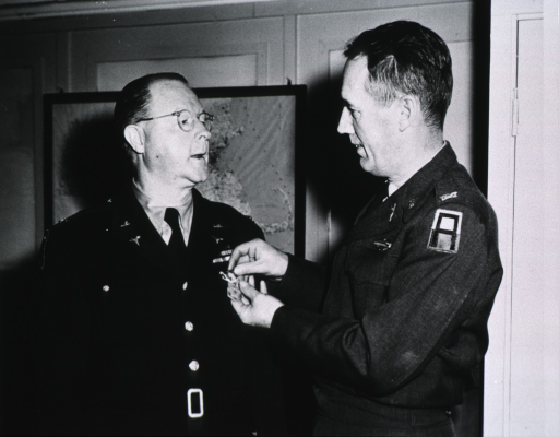 <p>Standing, half length; receiving Commendation Ribbon.</p>