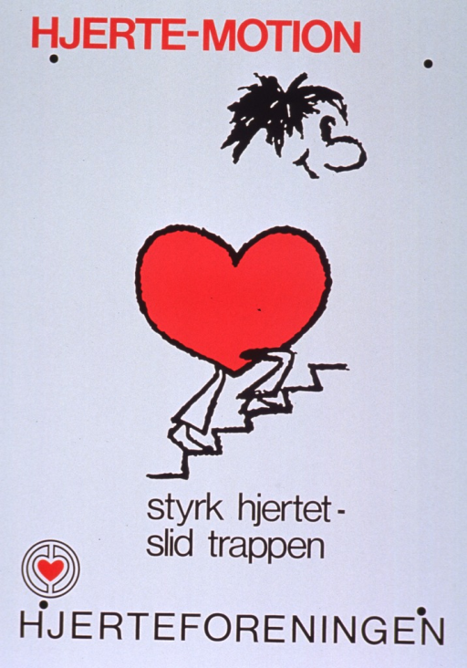 <p>White poster with red and black lettering.  Initial title words at top of poster.  Visual image is a cartoon-style illustration of a man, whose torso is a heart, climbing a staircase.  Remaining title words below illustration.  Publisher name and logo at bottom of poster.</p>