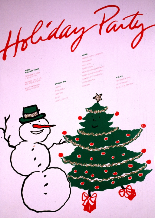 <p>White poster with a snowman and Christmas tree.  The snowman has a green hat on with gold sequins and one of his &quot;hands&quot; is holding a branch of the tree.  The tree has a smiling face painted on it, gold sequins star and garland, and two presents at the base of the tree are attached to look like feet.  The snowman and tree are dancing.  The sequins have been applied with glue.</p>