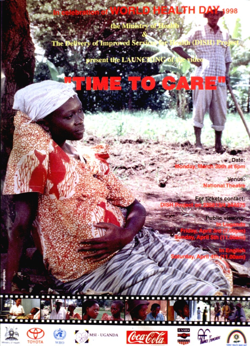 <p>Multicolor poster announcing viewing sessions for a video.  Most of poster is a reproduction of a color photo that features a pregnant woman sitting under a tree while a man works in a field nearby.  Title superimposed on photo at top of poster.  Viewing dates, times, and location on right side of poster.  Several small frames from the video are reproduced below the dominant photo.  One frame shows a pregnant woman receiving medical attention; the others feature people conversing.  Publisher and sponsor logos at bottom of poster.</p>