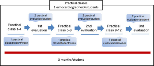 Schedule of the practical lessons and evaluation plan. Two similar modules (1 and 2).