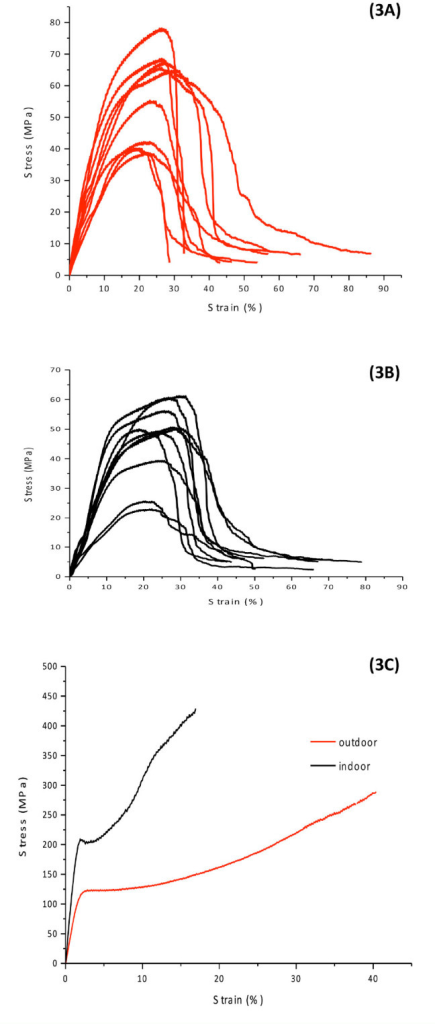 Stress-strain curves of Gonometa postica (3A) indoor cocoon shells, (3B) outdoor cocoon shells, and (3C) degummed fibers. High quality figures are available online.