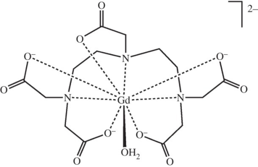 The intravenous MRI contrast agent [Gd(DTPA)(H2O)]2−. The paramagnetic 4f7 Gd3+ ion is large (ionic radius 1.2 Å) and can accommodate eight coordinating atoms from the chelating DTPA ligand and a water molecule. Exchange of coordinated water with bulk water is important for producing contrast in the magnetic resonance image.