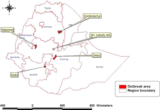 Location of outbreak areas where samples were collected