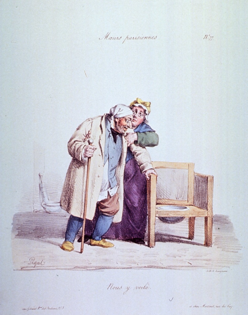 <p>Caricature:  A woman helps a man walk to a chair with a chamber pot attached.  In a corner stands a clyster and a pot.</p>
