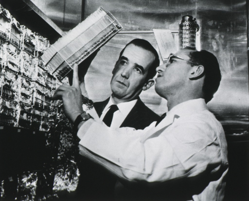 <p>Half length, with Edward B. Murrow, looking at rack of test tubes.</p>