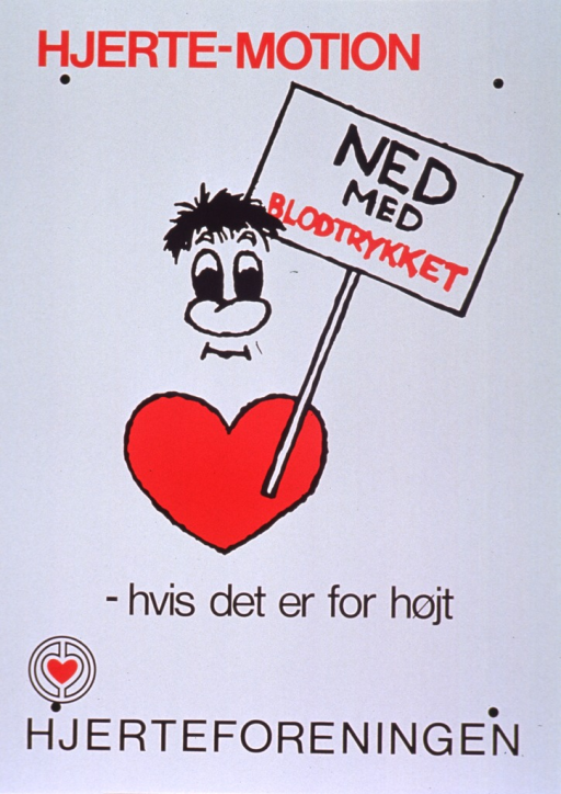 <p>White poster with red and black lettering.  Initial title words at top of poster.  Visual image is a cartoon-style illustration of a man, whose torso is a heart, holding a sign.  Some title words on sign, remaining title words below illustration.  Publisher name and logo at bottom of poster.</p>