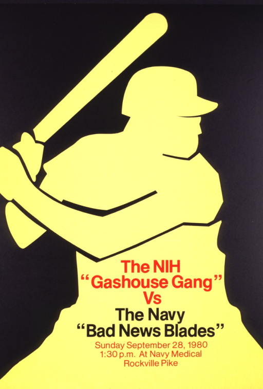 <p>The poster is black with the yellow outline of a baseball player at bat.</p>