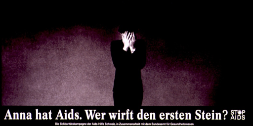 <p>Black and white poster with white lettering.  Most of the poster is a reproduction of a b&amp;w photo of a woman.  She stands with her hands covering her face, as if in distress.  Title below photo.  Note in lower right corner.  The &quot;o&quot; in stop is represented by a new condom.  Publisher information below.</p>