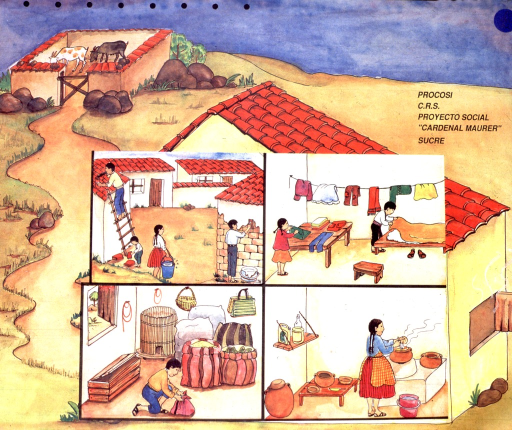 <p>Multicolor, two-sided poster.  One side of the poster depicts a poorly constructed house under a night sky.  There are holes in the thatch roof and gaps in the walls.  A stream of insects enters the house through the gaps.  Four smaller drawings show the insects getting into food and infesting livestock and humans.  The insects are likely transmitting Chagas disease, which is often associated with dilapidated housing in Central and South America.  The other side shows a well constructed house.  Livestock are now housed in a pen away from the house.  Four smaller drawings depict homes being repaired, better food storage, and improved hygiene.  Only text on poster is publisher information on the side depicting the clean home.</p>