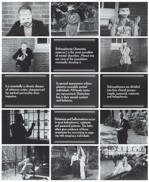<p>Images from silent film showing a total of fifteen frames, 10 depicting institutionalized patients, and 5 with text only, defining schizophrenia and some of the symptoms associated with the disorder.</p>
