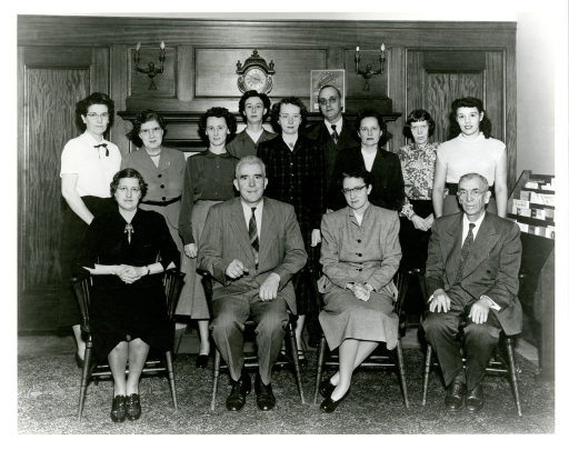 <p>Members of the History of Medicine Division of the Surgeon's General Library in Cleveland include William J. Wilson, Division Chief, second from the left in the front row, and Dorothy Schullian, first from the left in the front row.</p>
