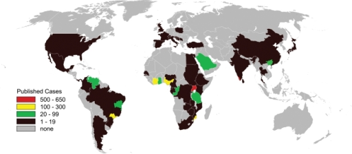 Distribution by country of published cases of endomyocardial fibrosis between 1950 and 2006.Includes only those cases diagnosed at autopsy, or confirmed by surgery or cardiac imaging. Within-country variation depicted for Brazil, China, India, Mozambique, and Nigeria.