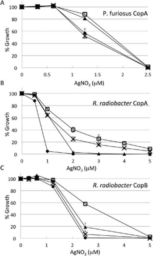 Growth in liquid media of wild type and mutant variants of the Cu+/ Ag+ pumps pfCopA (A), rrCopA (B), rrCopB (C) in the presence of the indicated AgNO3 concentrations. In A, wild type pfCopA open squares, E254A closed triangles, E270A crosses, empty vector closed circles. In B, wild type rrCopA open squares, E274A closed triangles, E290A crosses, empty vector closed circles. In C, wild type rrCopB open squares, E281A closed triangles, E297A crosses, empty vector closed circles. For each culture, 100% was defined as the growth in the absence of metal. In A–C error bars (shown unless smaller than icons) represent standard deviations of three repeats.