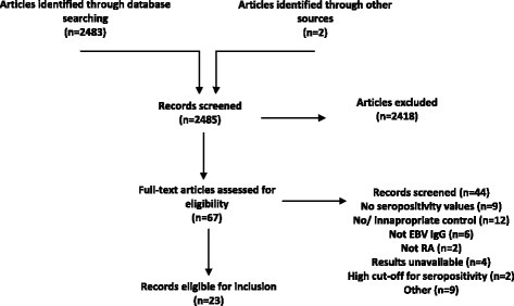 Flow chart. Following removal of duplicates, the search produced 2482 abstracts and two articles were identified from references of review articles. Sixty-seven were considered for inclusion and full texts accessed. Forty-four articles were excluded due to a number of the following reasons: no seropositivity values (n = 9); no or inappropriate controls (n = 12); no EBV IgG or IgA data (n = 6); and non-RA data (n = 2). Full results were not available for four articles and authors were contacted for available data, however, there were insufficient data provided in each case and all were excluded. The remaining 23 studies were considered eligible for inclusion and are summarised in Additional file 2. EBV Epstein-Barr virus, Ig immunoglobulin, RA rheumatoid arthritis