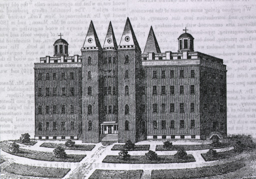 <p>Exterior view:  a reproduction of an Anderson engraving of a building with a circular center, four obelisk roofs, and crosses on top of two domes.</p>