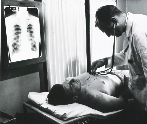 <p>Three quarter length, standing, using stethoscope on patient in cardiovascular examination.</p>