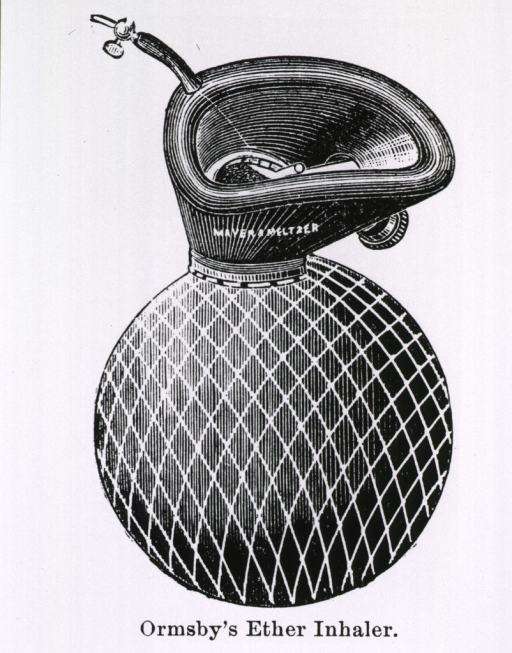<p>&quot;The face-piece is a cone-shaped wire cage, covered externally with leather, and leading into a soft leather bag, ....&quot; There is a tube extending from the cushioned rim through which ether can be administered; there is a valve on the side of the cone.</p>