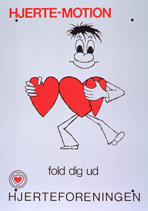 <p>White poster with red and black lettering.  Initial title words at top of poster.  Visual illustration is a cartoon-style illustration of a man whose torso is a heart unfolding or opening the folded heart.  Remaining title words below illustration.  Publisher name and logo at bottom of poster.</p>