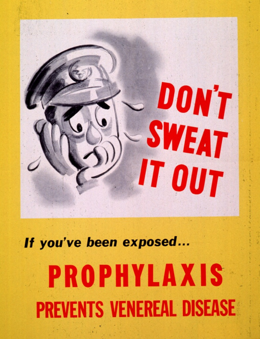 <p>Predominantly yellow poster with red and black lettering.  Visual image, in upper portion of poster, is an illustration of a sweaty, nervous looking man.  Title next to illustration.  Caption and note in lower portion of poster.</p>