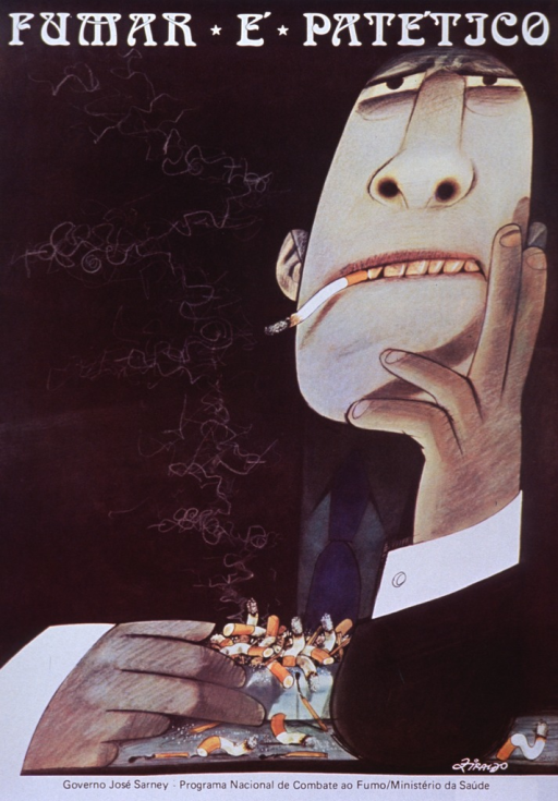 <p>Predominantly black poster with white and black lettering.  Title at top of poster.  Visual image is a cartoon-style man with discolored teeth and fingers.  He is smoking and an over-filled ashtray rests in front of him.  Artist's signature (Firaldo?), in lower right corner.  Publisher information at bottom of poster.</p>