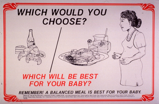 <p>Predominantly white poster with red and black lettering.  Initial title phrase at top of poster.  Visual images are illustrations of a meal consisting of sweets (a soda, cake, and pastries), a meal consisting of meat, vegetables and fruit juice, and a pregnant woman.  Remaining title text below illustrations.  Caption below title text.  Publisher and sponsor information at bottom of poster.</p>