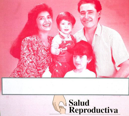 <p>Predominantly pink poster with black lettering.  Upper portion of poster features a photo reproduction showing a four-member family.  Blank space below photo, as if for contact information.  Title text and hand-holding logo at bottom of poster.</p>