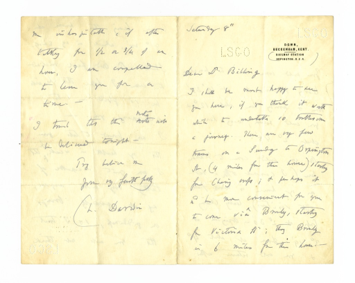 <p>Image of autograph letter from Charles Darwin to John Shaw Billings, October 8, 1881. In this letter, Darwin agrees to Billing's request to visit him at home.</p>
