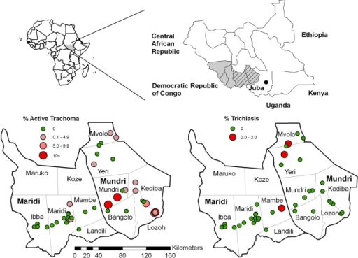 Maps showing surveyed counties in Western Equatoria State (hatched), and the prevalence of active trachoma (TF) and of trichiasis at each study site.