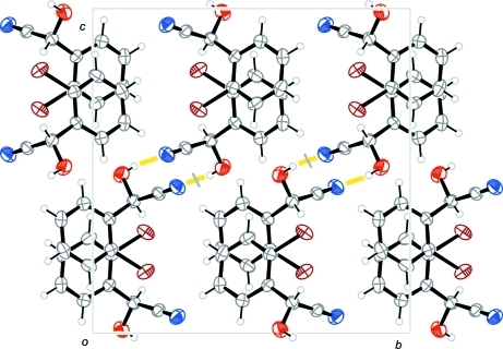 The packing of viewed along [-1 0 0]. Hydrogen bonds are drawn as yellow bars.