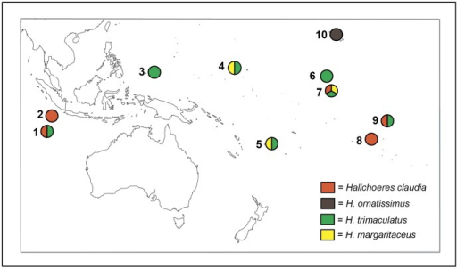 Sampling locations per species.Map of the Indo-Pacific region where samples of all species were collected. 1) Cocos Keeling Island, 2) Christmas Island, 3) Palau, 4) Kwajalein, Marshall Islands, 5) Fiji, 6) Palmyra, 7) Kiribati, 8) Moorea, 9) Marquesas, 10) Hawaiian Archipelago. Colors in the pie charts indicate species sampled at each location.