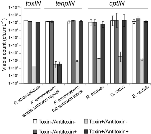 Protection of E. coli DH5α from Type III toxins by cognate antitoxins. Protection assays were performed as described in Materials and Methods. Results for the toxIN system of P. atrosepticum have been published previously (9); data from a single toxIN experiment is included for illustrative purposes. Of the four new loci tested, all toxin genes reduced viability of the host E. coli, which could then be restored by the full cognate antitoxin. Data shown are the mean values from triplicate experiments, with standard deviations represented by error bars.