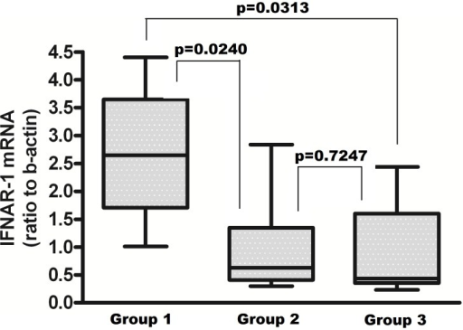 Levels of IFNAR-1 mRNA in PBMC from the HCV-infected naïve subjects after 3h of exposure to 103 IU/ml IFN-alpha2b in vitro, according to their IFNL3 and IFNL4 genotype combinations.Group 1: IFNL3 CC and IFNL4 TT/TT (IFNL3 favourable, IFNL4 favourable) n = 6; Group 2: IFNL3 CT or TT and IFNL4 TT/TT (IFNL3 unfavourable and IFNL4 favourable) n = 11; Group 3: IFNL3 CT or TT and IFNL4 TT/ΔG or ΔG/ΔG (IFNL3 and IFNL4 unfavourable) n = 11. The results are expressed as ratio to beta-actin, after subtraction of values from unexposed cultures (median, IQR).