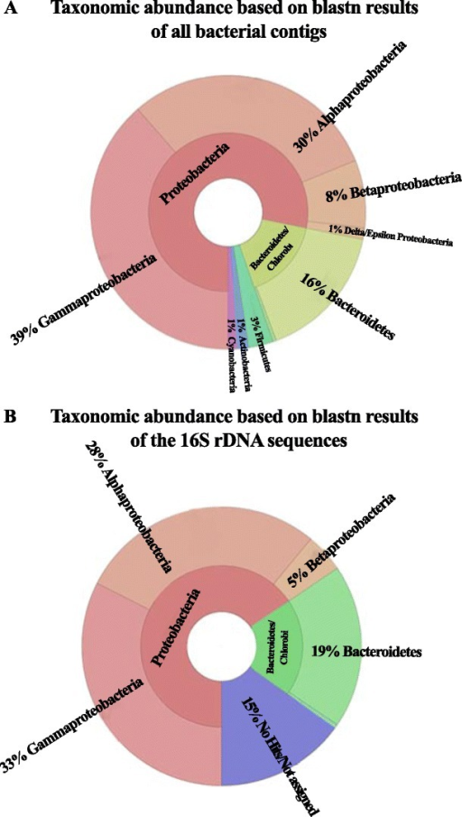 Pie charts of the taxonomic abundance of the bacterial consortium based on BLASTn results of all the contigs (a) and of the 16S rDNA sequences (b)