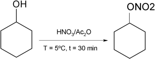 Synthetic route for obtaining the cyclohexane nitrate (HEX).