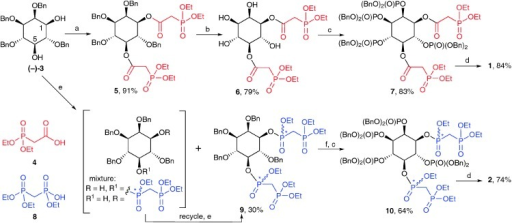 Synthesis of 1 and 2. Reagents and conditions: (a) EDAC, 4, CH2Cl2; (b) H2, Pd(OH)2/C, MeOH, H2O; (c) i. (BnO)2PNPri2, 5-phenyl-1H-tetrazole, CH2Cl2; ii. mCPBA, CH2Cl2; (d) i. TMSBr, CH2Cl2; ii. MeOH, TEAB; (e) (EtO)2P(O)CH2P(O)(OEt)Cl, DIPEA, CH2Cl2; (f) H2, Pd(OH)2/C, MeOH, THF, H2O, AcOH. TEAB, aqueous triethylammonium bicarbonate; Bn, benzyl. Yields are shown in respect of each step. Stereogenic phosphorus atoms are indicated by an asterisk.