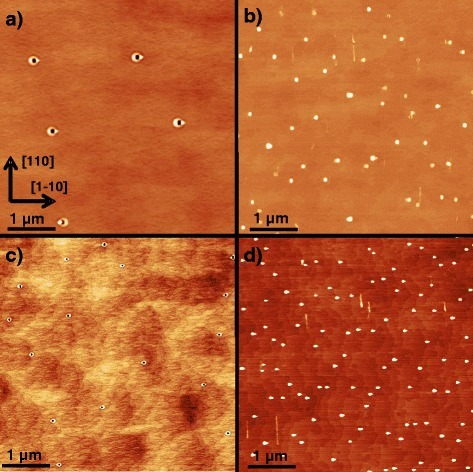 AFM images of AlGaAs surfaces after LDE with Al droplets at varied parameters. a Sample with T=605 °C, θAl=1.4 ML, and PAs≃6×10−8 Torr. b Like a but with an additional 670 °C pre-growth overheating step. c Sample with T=550 °C, fully minimized PAs≃1×10−10 Torr, θAl=1.0 ML, and no overheating. d Like c but with overheating