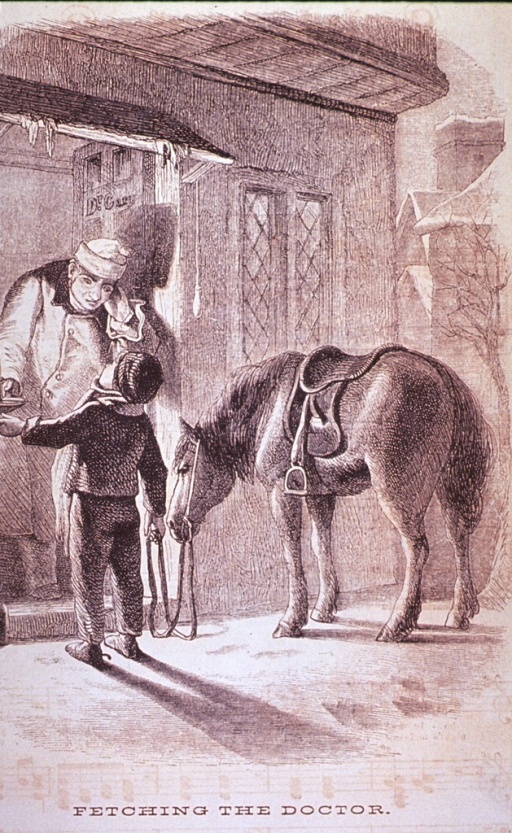 <p>A young boy, standing with his pony, has summoned the village doctor in the middle of the night; the doctor is standing at the door in his nightclothes.</p>