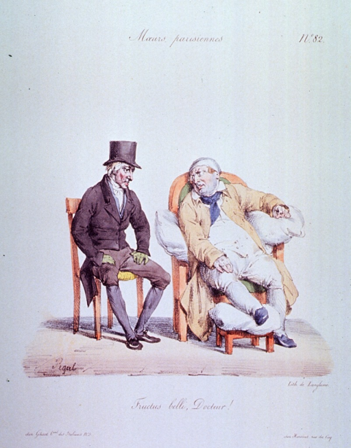 <p>Caricature:  A gouty man sitting in a chair with cushions and his foot on a stool is talking to a physician, who is sitting on a chair to the left.</p>