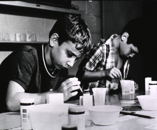 <p>Two young boys are checking the sugar levels in their urine; they are working at a table on which are plastic cups, bowls, small jars, and color bars.</p>