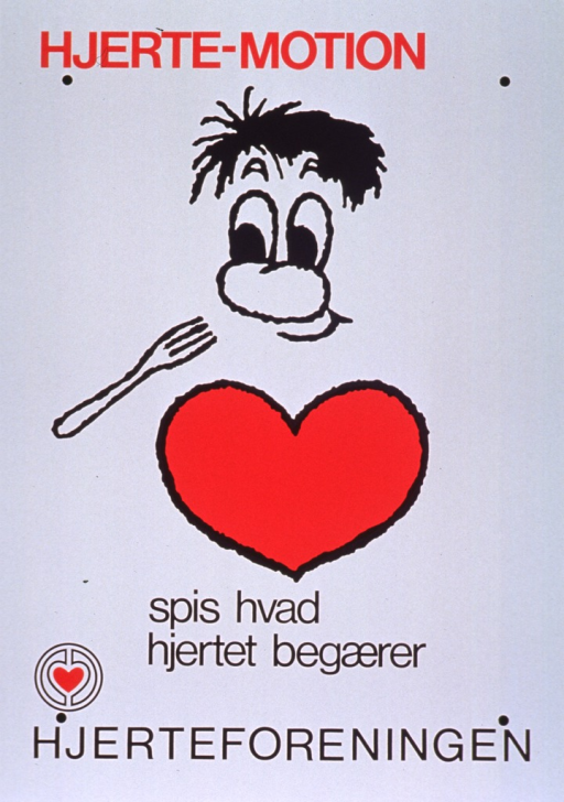 <p>White poster with red and black lettering.  Initial title words at top of poster.  Visual image is a cartoon-style illustration of a man, whose torso is a heart, eating.  Publisher name and logo at bottom of poster.</p>