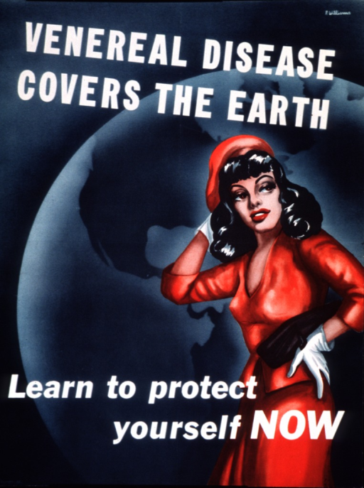 <p>Predominantly green poster with white lettering.  Title at top of poster.  Visual image is an illustration of a woman, dressed in red, standing with one hand on her head and one hand on her hips.  An illustration of the earth is in the background.  Caption and note near bottom of poster.</p>