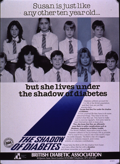 <p>Predominantly white poster with multicolor lettering.  Initial title phrase at top of poster.  Visual image is a b&amp;w photo reproduction featuring a group of school children, arranged as if posing for a class picture.  A blue highlight singles out one girl.  Remaining title text below photo.  Lengthy text on right side of poster explains diabetes and the work of the British Diabetic Association.  Note and publisher information at bottom of poster.</p>