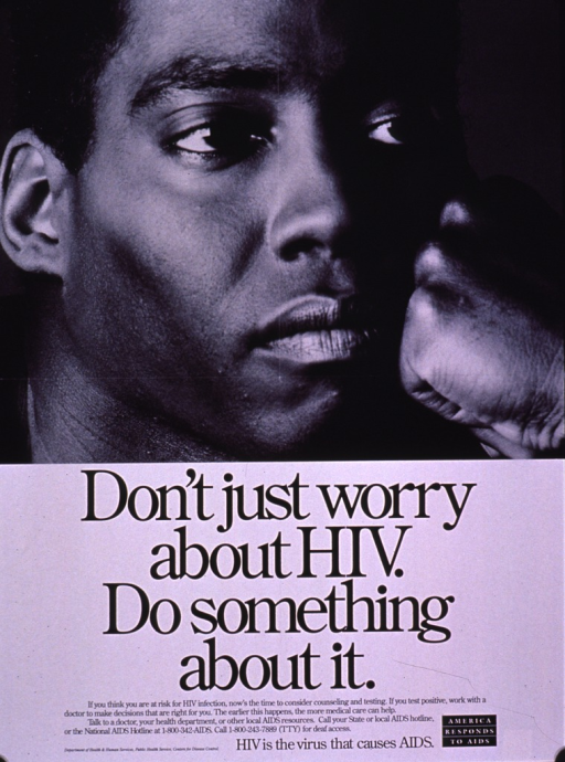 <p>Black and white poster with black lettering.  Visual image is a b&amp;w photo reproduction featuring a man's face.  Title below photo.  Caption below title also urges those who test positive for HIV to seek early treatment.  Publisher information near lower left corner, note near lower right corner.</p>