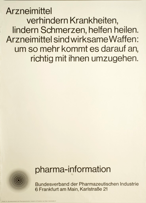 <p>Gray poster with black lettering.  The only illustration is the logo of Bundesverband der Pharmazeutischen Industrie.</p>