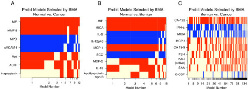 Models selected by BMA of linear models. Features are plotted in decreasing posterior probability of being nonzero. Models are ordered by selection frequency, with the best, most frequently selected models on the left and the weakest, rarest chosen on the right. Coefficients with positive values are shown in red and negative values in blue. Strong, frequently selected features appear as solid horizontal stripes. A beige value indicates that the protein was not selected in a particular model.