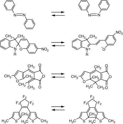 Typical examples of photochromic molecules.
